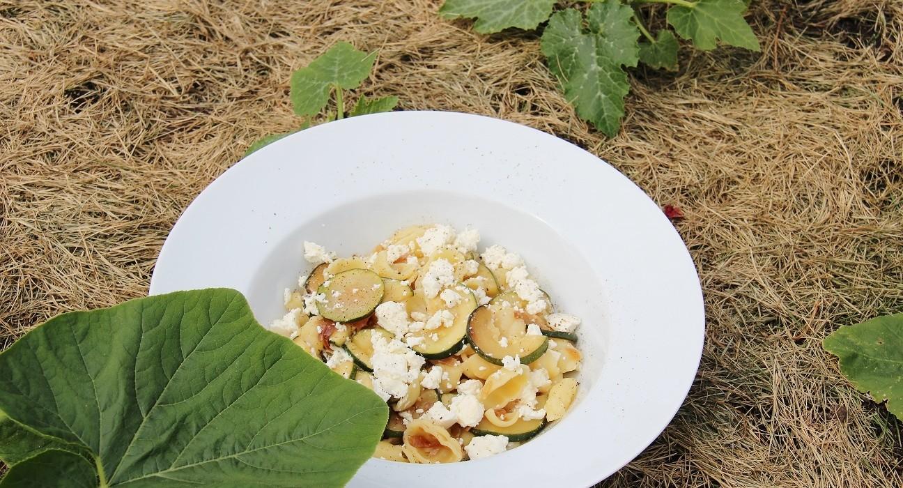 Kesäkurpitsaa ja fetajuustoa gnocchi pastalla