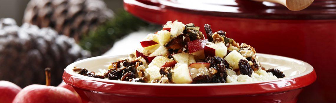 Riisipuuroa, omenaa, rusinoita ja rapeaa siemenströsseliä