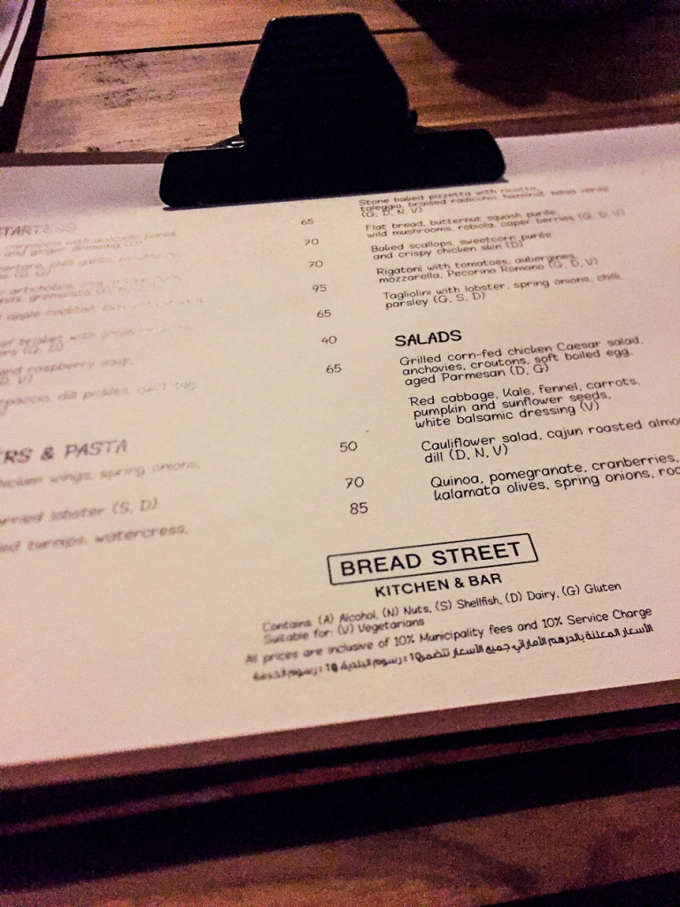Bread Street Kitchen menu