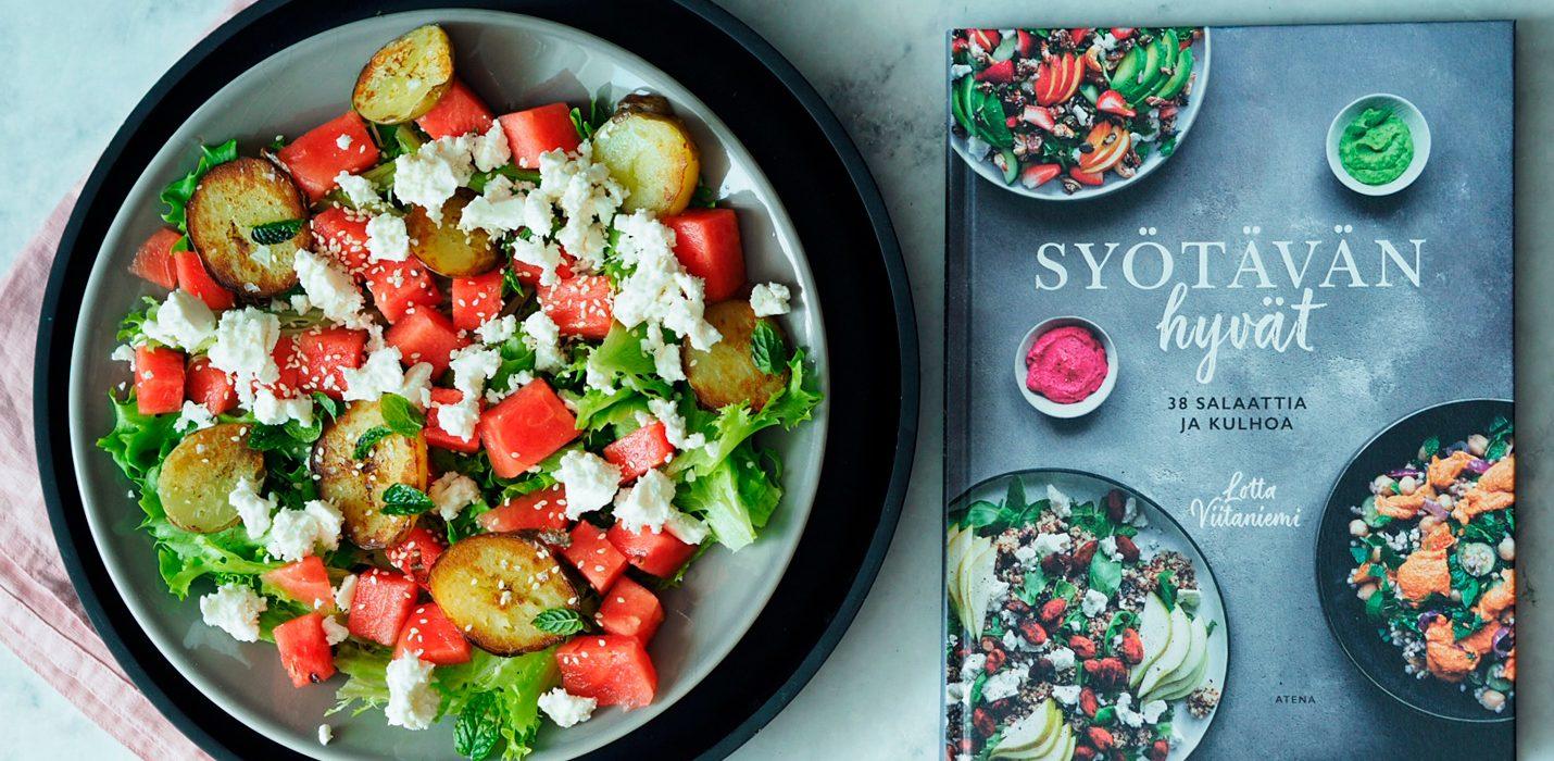 Vesimeloni-feta-perunasalaatti